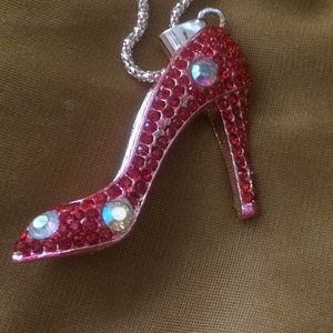 Jewelry - Ruby Red Slipper High Heel Pendant Necklace